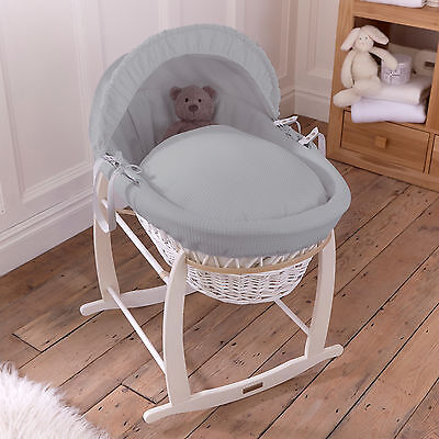 Clair De Lune Grey Waffle Padded White Wicker Baby Moses Basket & Rocking Stand