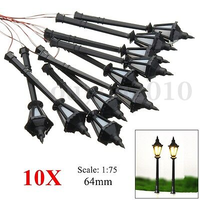 10x HO Scale Model Railway Led Lamppost Lamps Wall Lights Courtyard Layout 1:75