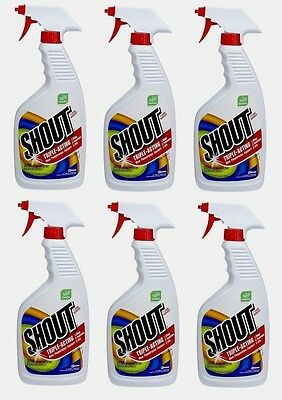 6pk SHOUT 22 oz Laundry Clothing Stain Remover Triple Acting Formula Quick Easy