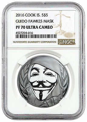 2016 Cook Islands $5 1 oz. Enameled Silver Guy Fawkes Mask NGC PF70 UC SKU46142