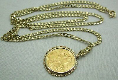 1914 Half Sovereign Coin Pendant in 9ct Mount And Chain