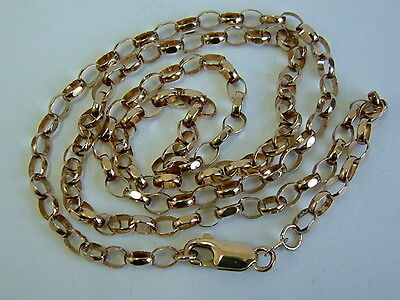 Lovely 9Ct Mellow Rose Gold Oval Open Belcher Chain For Pendant - 21 Inches