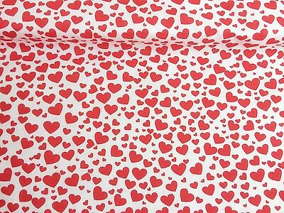 NEW!  VALENTINE Love HEARTS Polycotton FABRIC  Childrens Kids REDUCED PRICES
