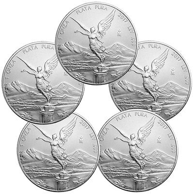 Lot of 5 - 2017-Mo Mexico 1 oz .999 Fine Silver Libertad Coin PRESALE SKU47082