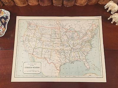 Original 1892 Antique Map UNITED STATES OF AMERICA Intricate Engraved Detail