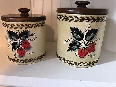 Vintage Ransburg Strawberry Strawberries Metal Tin Wood Top Canister Christmas