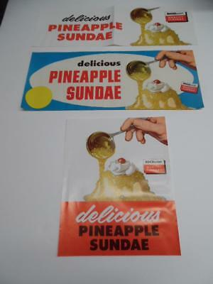 c.1950s Drive-In Restaurant Pineapple Ice Cream Lot Vintage Advertising Sign