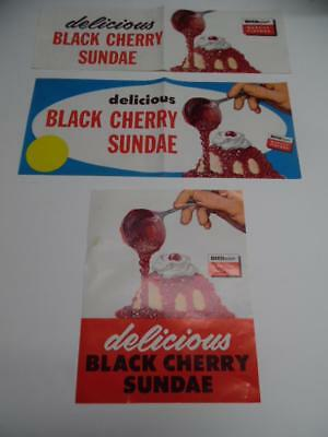 c.1950s Drive-In Restaurant Black Cherry Ice Cream Lot Vintage Advertising Sign