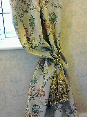 French Vintage Jacquard fabric Curtain drape +  tie back and 2  cushion covers.