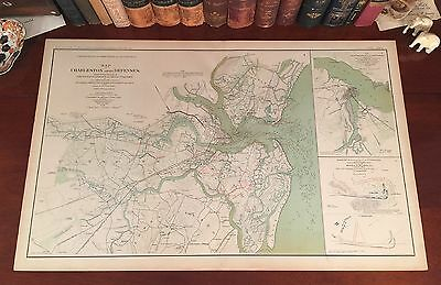 Beautiful Original Antique Civil War Map CHARLESTON DEFENSES South Carolina SC