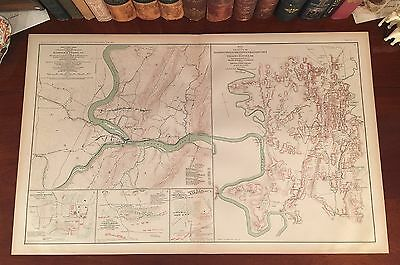 Original Antique Civil War Map HARPERS FERRY West Virginia HAGERSTOWN Maryland