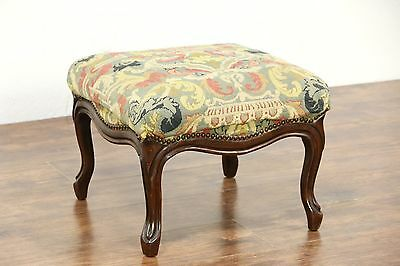 Tapestry Needlepoint 1900 Antique Carved French Fruitwood Foot Stool