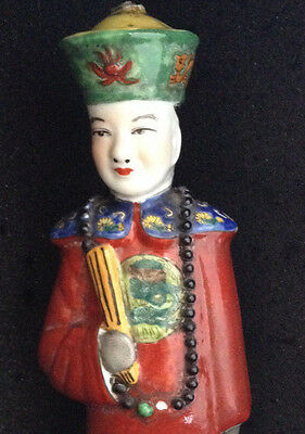 Chinese Emperor * Familie Rose Hand painted Porcelain Figurine Statue Figure BL