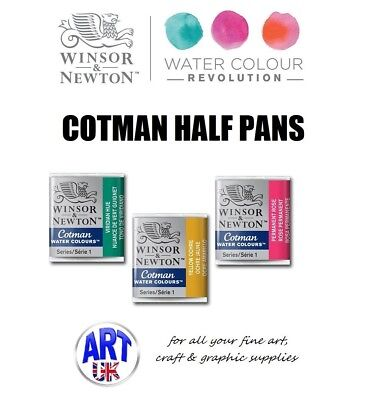 Winsor & Newton COTMAN Watercolour HALF PANS of Artists/student/designers Paint