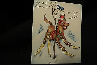 Vintage SKIING HORSE New Year Card c. 1940s