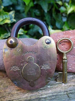 Antique Vintage Brass Padlock with one key, working order, hobby, collector 01