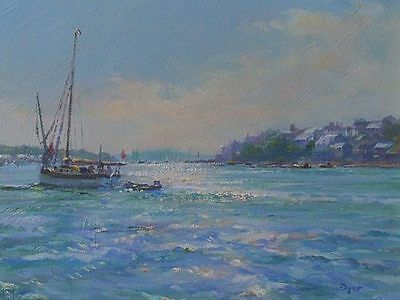 Stunning Ted Dyer Original Oil Painting - Falmouth Harbour Cornwall Cornish Art