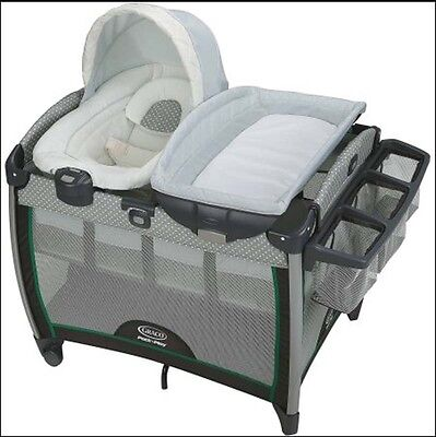 Portable Bouncer with Bassinet Playard Quick Connect Baby Crib Cradles Toddler