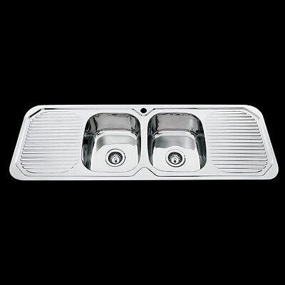 Drop In Stainless Steel Kitchen Double Bowl with Double Drainer Sink 1380x480