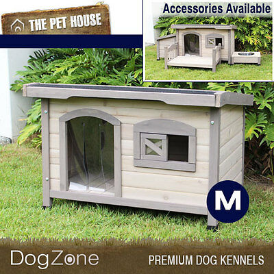 NEW Somerset Medium Flat Roof Wooden Dog House Wood Timber Kennel