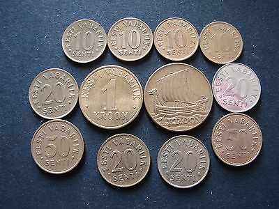 Set of 12 coins from Estonia: 1 Kroon 1934 + others