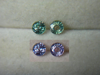 2 rare ALEXANDRITE gems Color Change NATURAL Brazil Green Purple FLUORESCENT a28