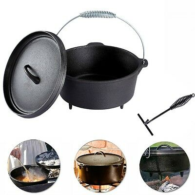 Cast Iron Camp Oven Dutch Oven Cook Camping Caravan Hunting Fishing Stew Braise