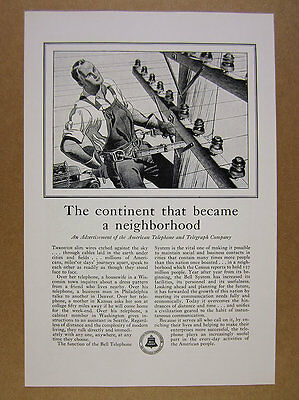 1930 lineman pole art Bell Telephone System AT&T vintage print Ad