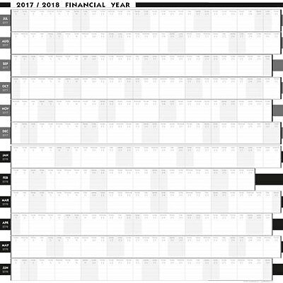 2017/2018  Financial Year Wall Planner  5 Sizes / 8 Colours/bus/personal