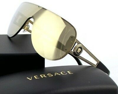 56cd95487c607 NEW GENUINE VERSACE Rock Icons Pale Gold Mirror Shield Sunglasses VE 2166  12525A -  499.95