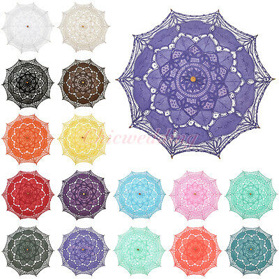 16 Colors Cotton Battenburg Lace Parasol Umbrella for Wedding Party Decoration