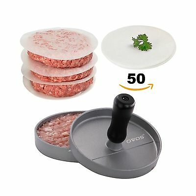 OVOS Non-Stick Burger Press With 50 FREE Patty Papers Wood Handle Aluminum New