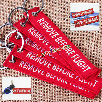 5pcs Red REMOVE BEFORE FLIGHT Embroidered Luggage Tag Key Chain Ring Aviation