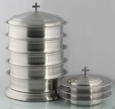 Stainless Steel 5 Communion tray with lid base and 3 bread plate with lid
