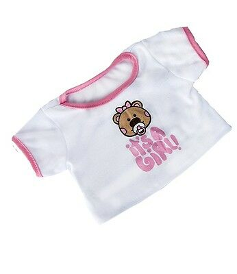 "It's a Girl pink trim t-shirt outfit teddy bear clothes fits 15"" Build a Bear"