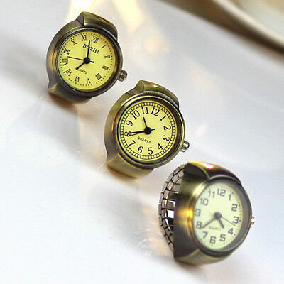 Retro Women Lady Ring Stretch Quartz Roman Number Finger Watch Jewelry Gift GYTH