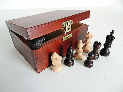 Brand New Olympic Wooden Chess Pieces In Handmade Brown Storage Box