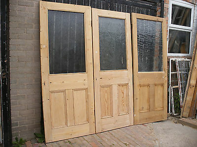 Large reclaimed Victorian or Edwardia stripped pine glazed / unglazed doors