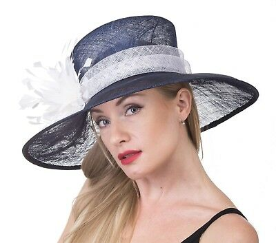 Church Kentucky Derby Carriage Wedding Tea Party Wide brim Sinamay Hat Navy Blue