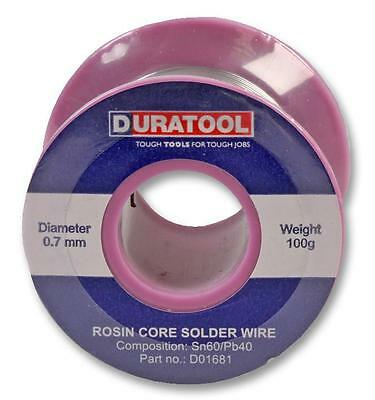 DURATOOL SOLDER WIRE SN60/PB40 0.7MM 100g Low Melting Point ROSIN FLUX