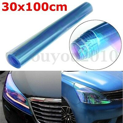 30x100cm Chameleon Blue Car Headlight Tail Fog Light Vinyl Tint Film Wrap Cover