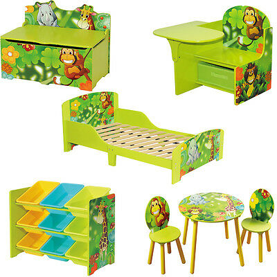 Kids Toddlers 5 Piece Matching Set Green Jungle Themed Wooden Bedroom Furniture