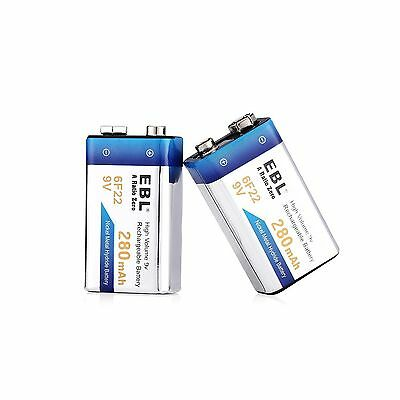 EBL 9V Rechargeable Battery 2 Pack 280mAh Low Self-discharged Ni-MH 9 Volt New