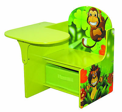 Toddlers Chair Desk With Storage Bin Jungle Theme Playroom Desk Kids Furniture