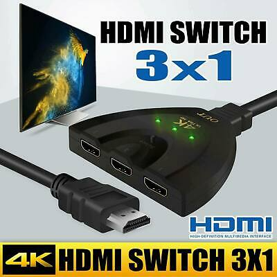 3 Port HDMI Splitter 4K Cable 2160p Multi Switch Switcher HUB Box HDTV PS3 Xbox