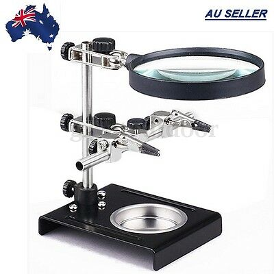 AU Solder Third Hand Soldering Iron Stand Holder Station Magnifier Helping Tool