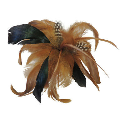 New Vintage 1930's 1940's style Brown Tan Feather Corsage Brooch Hair Clip