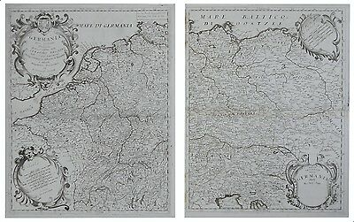 1692 Important CORONELLI two sheets map GERMANY POLAND Prussia Baltic Europe