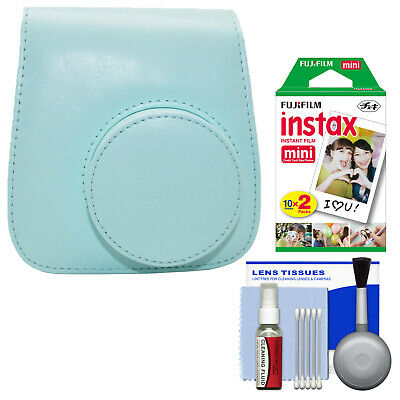 Fujifilm Groovy Camera Case for Instax Mini 9 Ice Blue with 20 Color Prints Kit