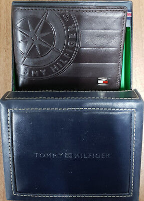 Tommy Hilfiger Men's Men Black Leather Trifold & Valet Wallet With Free Gift Box